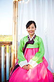 Korean woman in traditional clothing, Seattle, WA, USA