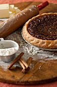 Baking ingredients and pecan pie, Los Angeles, California, United States