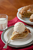 Apple pie al a mode with glass of milk, Los Angeles, California, United States