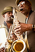 African American musicians playing saxophones together, Rockville, Maryland, USA