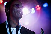 Black musician on stage, Rockville, Maryland, USA