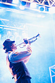 Musician playing trumpet on stage, Rockville, Maryland, USA