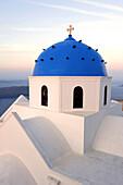 Blue dome of orthodox Greek church, Santorini, Santorini, Greece