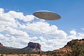UFO flying over desert, Sedona, Arizona, United States