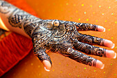 Close up of hand with intricate henna design, Chicago, Illinois, USA