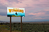 Welcome to Wyoming Sign, Wyoming, USA