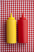 Close up of ketchup and mustard bottles, Santa Fe, New Mexico, USA