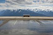 Park bench facing Hurricane Ridge, Olympic National Park, Port Angeles, Washington, United States, None, Washington, USA