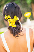 Newlywed bride with flowers in hair