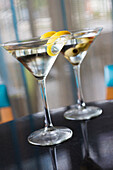 Close up of garnished martinis