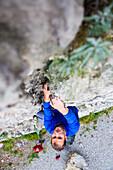 Man rock climbing, Sistiana, Friuli Venezia Giulia, Italy