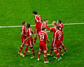 Allianz Arena, football game, FC Bayern against Schalke 04, FC Bayern celebrating a goal, Munich, Upper Bavaria, Bavaria, Germany