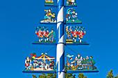 Detail of the Maypole on Viktualienmarkt, Munich, Upper Bavaria, Bavaria, Germany