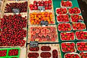 Fruit and vegetable stall on the market, Viktualienmarkt, Munich, Upper Bavaria, Bavaria, Germany