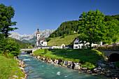 Church in Ramsaum Ramsauer Ache, Reiter Steinberge, Berchtesgadener Land, Bavaria, Germany