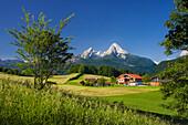 Farm with meadows and fields, Watzmann in the background, Aschauerweiherstrasse, Berchtesgadener Land, Bavaria, Germany
