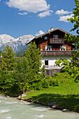 Farmhouse in Ramsau, Hoher Goell, Ramsauer Ache, Berchtesgadener Land, Bavaria, Germany