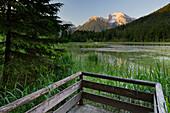 View point at Lake Taubensee, Hochkalter, Watzmann, Berchtesgadener Land, Bavaria, Germany