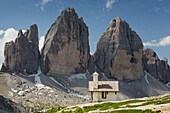 Chapel at Tre Cime di Lavaredo, Drei Zinnen, South Tyrol, Dolomites, Italy
