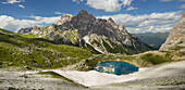 Neunerkofel with field of snow, Ice lake, South Tyrol, Dolomites, Italy