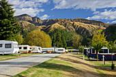 Camping site near Arrowtown, Otago, South Island, New Zealand