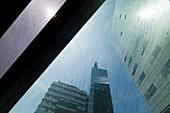 Condensation on a glass facade, highrise buildings, Vienna, Austria