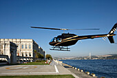 Landing helicopter at a hotel, Ciragan Palace, Istanbul, Turkey