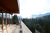 Couple on a balcony of a hotel sauna, Klais, Krun, Bavaria, Germany