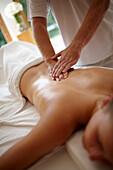 Woman enjoying a massage, Klais, Krun, Upper Bavaria, Germany