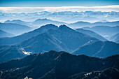 Aerial photo, view of the Alps near Tegernsee, Upper Bavaria, Bavaria, Germany