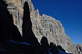 Shadow of Campanile Basso at Crozzon di Brenta, Brenta Dolomites, Trentino, Italy