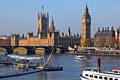 London Eye Pier, Thames and Westminster Palace aka Houses of Parliament, Westminster, London, England, United Kingdom