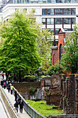 Noble Street with remains of the roman city fortification, City, London, England, United Kingdom
