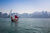 Junk ship replica sightseeing boat Aqua Luna in Hong Hong Harbour, Tsim Sha Tsui, Kowloon, Hong Kong