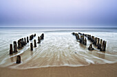 Groynes on the beach in the evening light, North Sea, Rantum, Sylt, Schleswig-Holstein, Germany