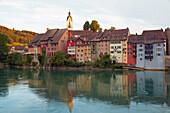 Blick auf Laufenburg, Schweiz, über den Rhein, Von Baden-Württemberg aus gesehen, Hochrhein, Baden-Württemberg, Deutschland, Europa
