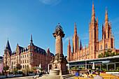 Town hall, Neues Rathaus, and church, Marktkirche, with column, Marktsaeule, Wiesbaden, Mittelrhein, Middle Rhine, Hesse, Germany, Europe