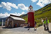 Lighthouse und Information center Rheinquelle at Oberalppass, Canton of Grisons, Switzerland, Europe