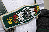 Part of a Bavarian lederhosen suspenders, Chiemsee, Chiemgau, Upper Bavaria, Germany