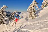 Skier downhill skiing from mount Steinplatte, Reit im Winkl, Chiemgau, Bavaria, Germany