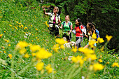 Women hiking, Reit im Winkl, Chiemgau, Upper Bavaria, Germany
