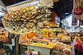 La Boqueria Market, Fruit and vegetables and seafood, Barcelona, Catalonia, Spain