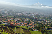 view from Mirador de Humboldt, viewpoint, view over the Orotava valley to Teide, 3718m, with snow, the island´s landmark, highest point in Spain, volcanic mountain, Tenerife, Canary Islands, Spain, Europe