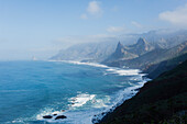 Coastal landscape near Taganana, trail at the steep coast, Las Montanas de Anaga, natural preserve, Parque Rural de Anaga, coastline, Atlantic Ocean, Tenerife, Canary Islands, Spain, Europe