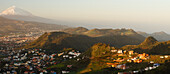 view from Mirador La Jardina, viewpoint, village Las Mercedes and San Cristobal de La Laguna, Teide mountain with snow, 3718m, the island´s landmark, highest point in Spain, volcanic mountain, Tenerife, Canary Islands, Spain, Europe