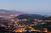 view from Mirador La Jardina, viewpoint, San Cristobal de La Laguna, Teide mountain with snow, 3718m, the island´s landmark, highest point in Spain, volcanic mountain, Tenerife, Canary Islands, Spain, Europe