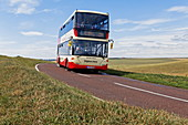 Public bus on a country road near Beachy Head, East Sussex, England, Great Britain