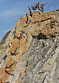 Multiple image of a cliff diver, La Quebrada, Acapulco, Guerrero, Mexico