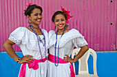 Mother and daughter wearing traditional costume, Corinto, Chinandega, Nicaragua