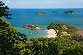 View over beach and Coiba Archipelago, Panama